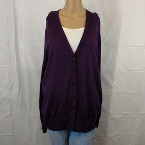 Loft knit button down cardigan size XL purple